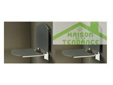 Siège de douche en ABS anthracite 36x35 cm - Avec dossier - Avec dossier
