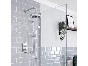 Hudson Reed Elizabeth - Kit de douche rétro - Mitigeur thermostatique à double fonctions avec inverseur, Pommeau pluie rond de 20 cm et Kit douchette sur rampe - Chromé et Blanc