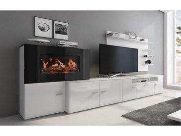 Meuble salon+cheminée électrique,5 niv.de flamme,Blanc Mat/Laqué Blanc Brillant,290x170x45