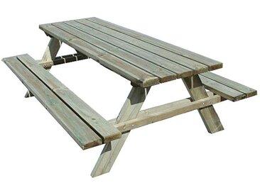 Table de pique-nique en bois traité 6/8 pers, Fontainebleau