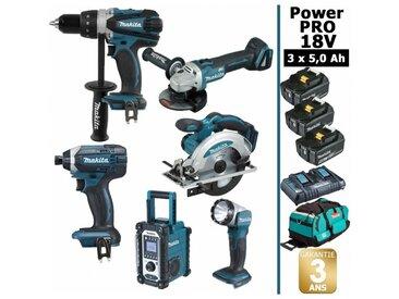 Pack Power PRO Makita 6 outils 18V: Perceuse DDF458 + Visseuse à choc DTD152 + Meuleuse DGA504 + Scie circulaire DSS610 + Radio DMR108 + Lampe Torche LED + 3 batt 5Ah + sac