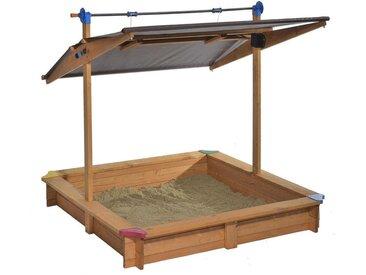 """Bac à sable en épicéa avec toit basculant """"Mickey"""" - L 140 x l 140 x h 130 cm"""