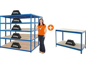 Mega Deal | Lot de 3 x étagères métalliques et 1 établi - Profondeur 60 cm - Charge max. 200 kg par tablette