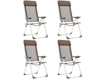 Chaises de camping pliables 4 pcs Marron Aluminium