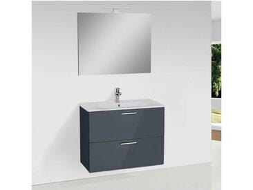 Meuble pour salle de bain avec miroir lavabo et éclairage Led Mia 79x61x39,5 cm, anthracite brillant (MIASET80A) - Vitra