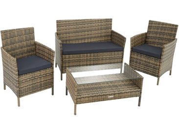 Salon de jardin MADERE 2 Chaises Fauteuils, 1 Banc, 1 Table - mobilier de jardin, meuble de jardin, ensemble table et chaises de jardin - marron naturel