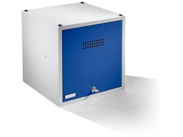 Wolf Casier verrouillable extensible - h x l x p 500 x 500 x 500 mm - avec serrure de sécurité, porte bleu gentiane