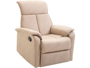 Fauteuil de relaxation grand confort pivotant 360° dossier inclinable repose-pied ajustable simili cuir tissu beige