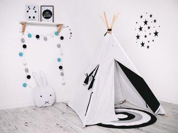 WILLY | Tente de jeu Tipi pour les enfants | Hauteur 160cm | Cabane intérieur extérieur | Avec 8 poteaux pin naturel | Blanc