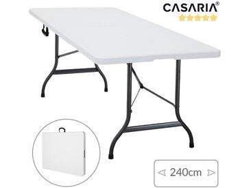 Deuba | Table de camping • 240 cm • pliable • Plastique résistant blanc | Table de jardin, terrasse