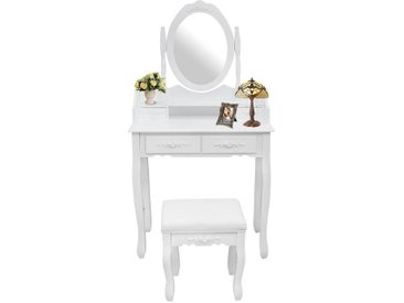 Table de Maquillage, Coiffeuse, Blanc, 4 tiroirs, miroir oval moulé, Matériau: MDF, Bois de Paulownia