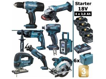 Pack Starter 8 outils 18V: Perceuse DDF453 + Perfo DHR165 + Meuleuse DGA452 + Visseuse à choc DTD146 + Scie sauteuse DJV180 + Scie circulaire DSS610 + Scie récipro DJR183 + Radio DMR107 + 4 batt 3Ah + 6 Coffrets Makpac MAKITA