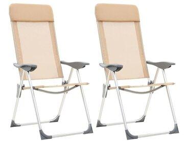 Hommoo Chaises de camping pliables 2 pcs Crème Aluminium