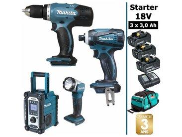 Pack Starter Makita 18V: Perceuse 42Nm DDF453 + Visseuse à choc 160Nm DTD146 + Radio DMR108 + Lampe torche DEADML802 + 3 batteries 3Ah + sac