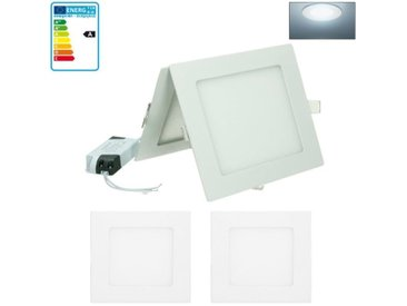 ECD Germany 2 x Ultraslim mince LED Lampe Intégré 12W 17 x 17 cm SMD 2835 Blanc froid 6000K 220 - 240 V environ 735 Lumens Plafonnier Encastré Carré