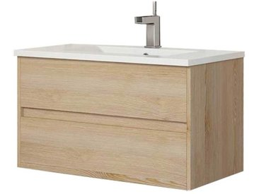 Meuble de salle de bain suspendu LERMA 80 cm Bois clair