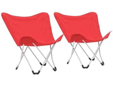 Hommoo Chaise de camping pliable Forme de papillon 2 pcs Rouge