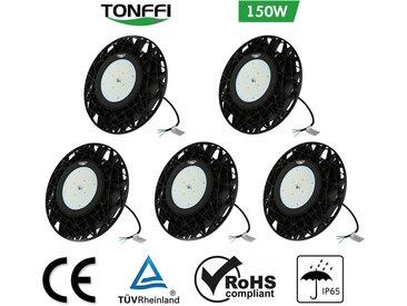 Lot de 5-Tonffi 150W Thare de Travail LED UFO Spot LED 18000LM Projecteur Industriel Rond IP65 Étanche pour Extérieur et Intérieur Blanc Froid 6000K Certification CE TÜV ROHS