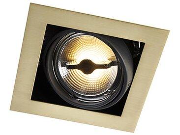 Spot carré encastré en laiton - Oneon 111-1 Qazqa Moderne, Art Deco, Design, Industriel / Vintage, Classique/Antique Luminaire interieur Carré