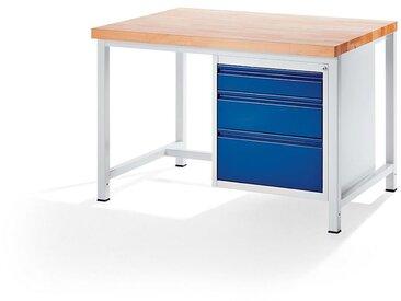 RAU Etabli, stable - 3 tiroirs taille L – hauteur de chaque 1 x 120/180/240 mm - profondeur 900 mm, largeur 1250 mm