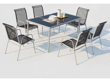 Table de jardin 150cm en acier avec 6 chaises en acier et textilène : Lusiana