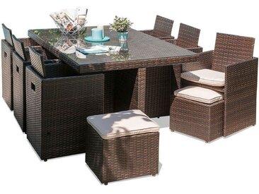 Encastrable 10P en resine tressee, plateau verre: 1 table+ 6 fauteuils+ 4 poufs - CHOCOLAT