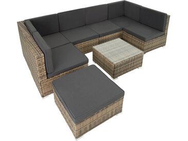 Tectake - Canapé de Jardin VENISE 7 places - table de jardin, mobilier de jardin, fauteuil de jardin - marron naturel