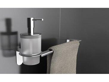 CAPANNOLI-Porte-Distributeur de savon liquide/Porte-serviettes Easy en acier brillant YE122 | fixation adhésive - Acier chromé poli
