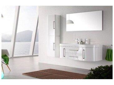 Meuble salle de bain double vasque 120 cm, 1 colonne, MIA BLANC
