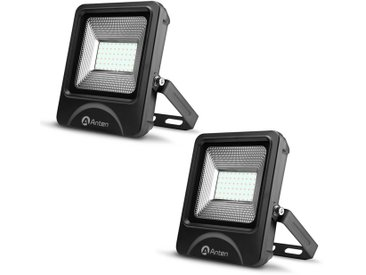 2×Anten Projecteur LED 50W Floodlight Spot Intérieur et Extérieur IP65 Lampe ed Jardin Blanc Froid 6000K (Boîte de Jonction Fournie)