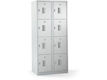QUIPO – Vestiaire multicases verrouillable par dispositif pour cadenas, 8 cases - h x l x p 1800 x 800 x 500 mm, gris - Coloris des portes: Gris clair