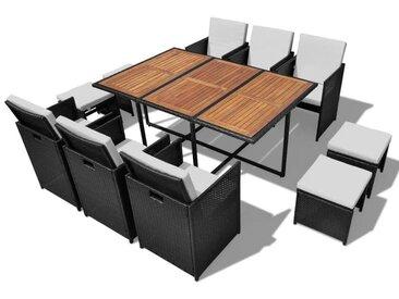 Salon de jardin encastrable 11 pcs Rotin et bois d'acacia Noir