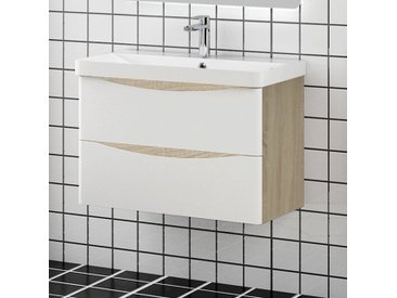 Meuble salle de bain 80x39.5x50cm 2 tiroirs avec le robinet et le siphon meuble suspendu avec la vasque couleur blanc et bois