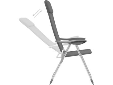 Hommoo Chaises de camping pliables 4 pcs Gris Aluminium