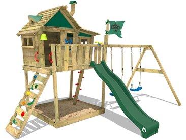Aire de jeux WICKEY Smart Monkey avec toboggan vert, bac à sable et balançoire