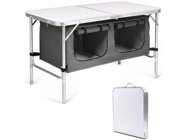 COSTWAY Table de Camping Pliable avec 2 Compartiments de Rangement Gris Réglable en Hauteur Table Jardin Compacte pour Pique-Nique