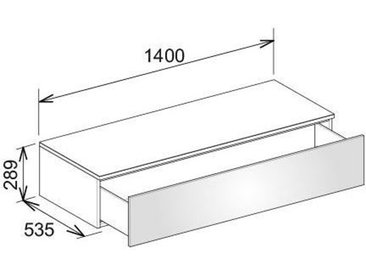 Keuco Edition 400 Buffet 31761, avec 1 tiroir, 1400 x 289 x 535 mm, Corps/Avant: Blanc Strucktur laqué / verre truffé mat - 31761730000