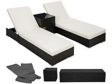 Ensemble de 2 Bains de soleil en Aluminium & Résine Tressée + Table + Housse de protection Noir