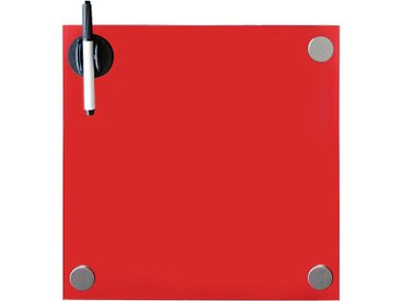 Tableau magnétique en verre tableau blanc, tableau en verre, tableau magnétique, tableau d'affichage, 45 x 45 x 0,4 cm, rouge - Melko