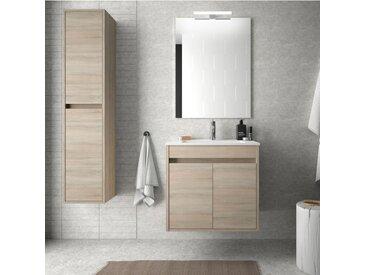Meuble de salle de bain suspendu 60 cm marron Caledonia avec deux portes | Avec double colonne, miroir et lampe à LED