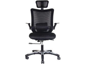 Chaise pivotante de bureau Optima - avec dossier respirant et appuie-tête, noir