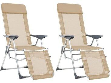 Hommoo Chaises de camping pliables 2pcs et repose-pied Crème Aluminium