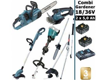 Pack 18/36V Combi Gardener: outil multifonction avec 4 accessoires + tronçonneuse 36V 35cm + coupe herbe 18V + taille herbe 18V + 2 batt 5Ah MAKITA DUX60 DUC353 DUR181 DUM604