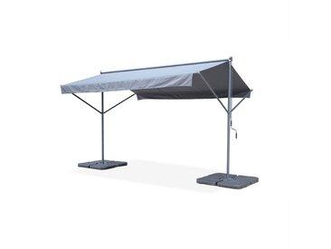 Store double pente - Penne 4x3m Gris - Système manuel à manivelle, auvent sur pieds, store de terrasse largeur 395cm, toile polyester enduite 280g,