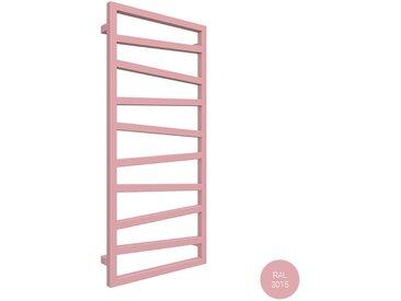 E. Sèche-serviette mixte rose clair de 1545mm de haut et 500mm de large.