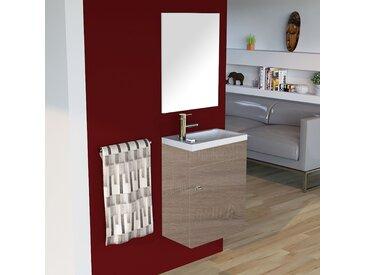 Meuble lave-mains LILA 44x26 cm avec vasque et miroir - cambrian oak