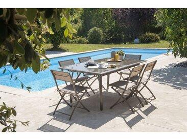 Ensemble table de jardin _ rallonge papillon et plateau verre + 6 chaises pliantes en aluminium et textil