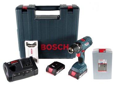 Bosch GSR 18 V-21 Li-Ion Professional Perceuse-visseuse sans fil + Coffret de transport Bosch + 2x Batteries 2,0 Ah + Chargeur + Jeu de mèches, 25 pièces + Jeu de forets hélicoïdaux, 25 pièces
