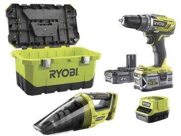 Pack perceuse-visseuse 18 V OnePlus R18DD3 - Aspirateur d'atelier R18HV - 2 batteries - chargeur rapide R18DD3-252VT - Ryobi