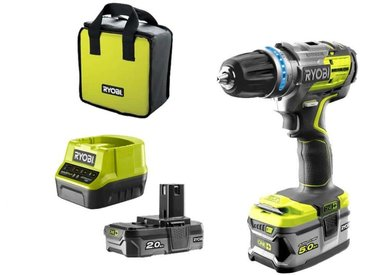 Perceuse-visseuse à percussion brushless RYOBI 18V OnePlus - 2 batteries LithiumPlus 5Ah - 2Ah - chargeur rapide 2.0Ah - R18PDBL-252S